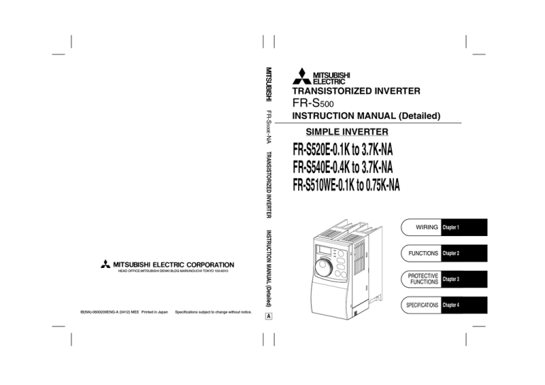 Mitsubishi Electronics FR-S500 Power Supply User Manual