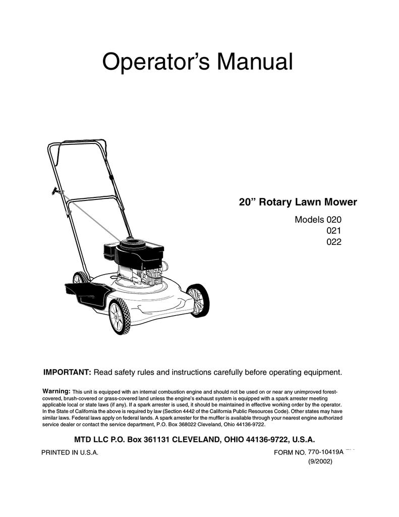 medium resolution of mtd 021 lawn mower user manual