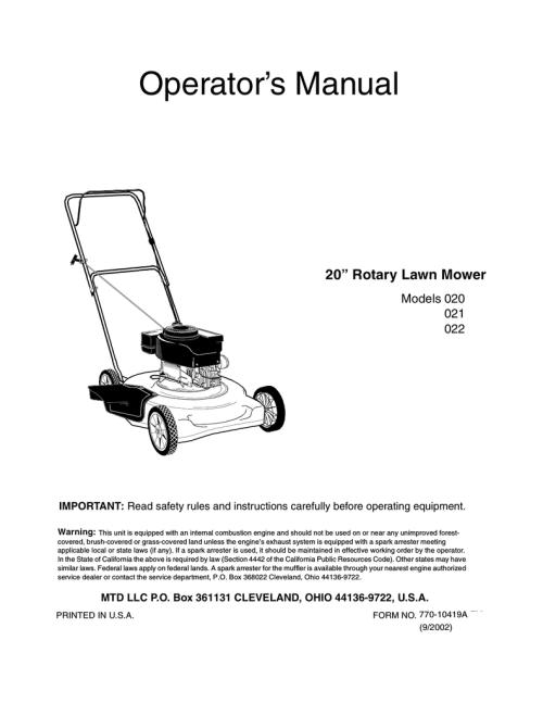 small resolution of mtd 021 lawn mower user manual
