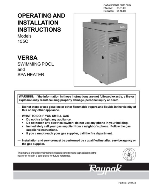 small resolution of raypak 155c swimming pool heater user manual