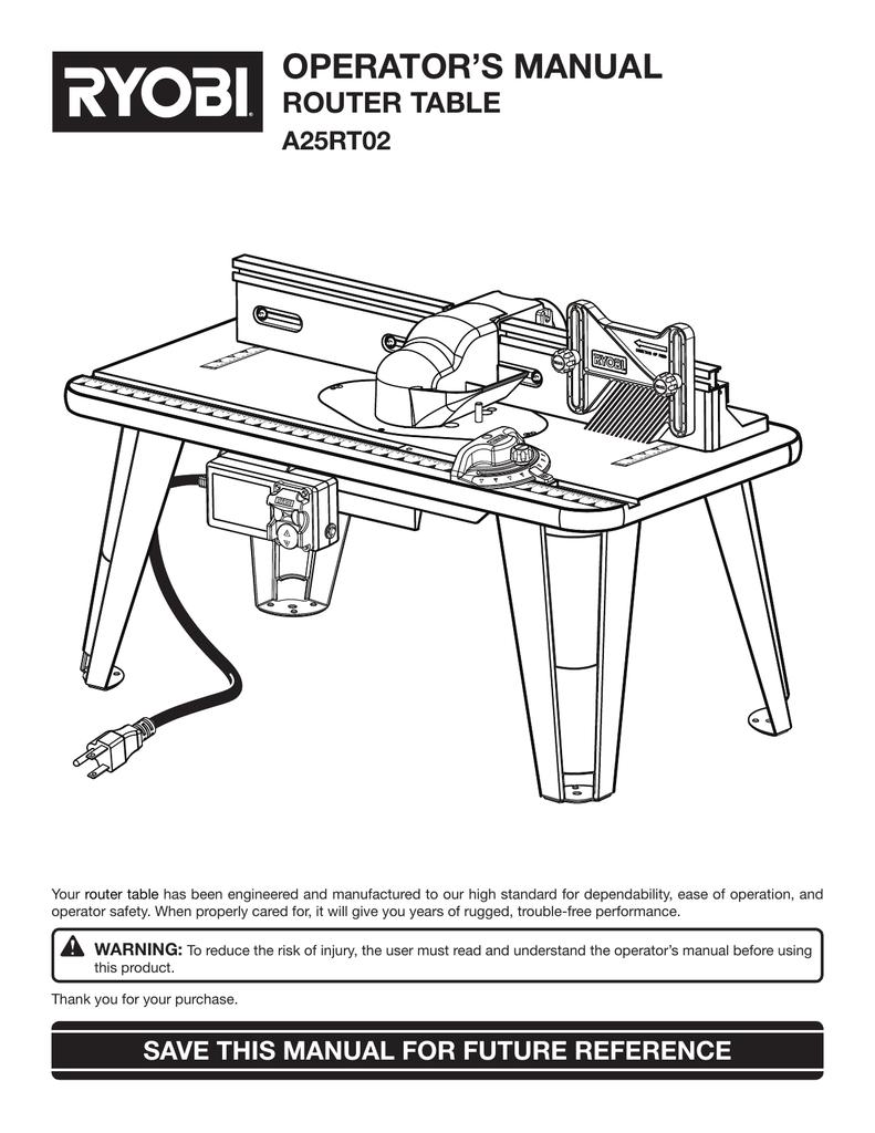 Ryobi Universal Router Table Manual