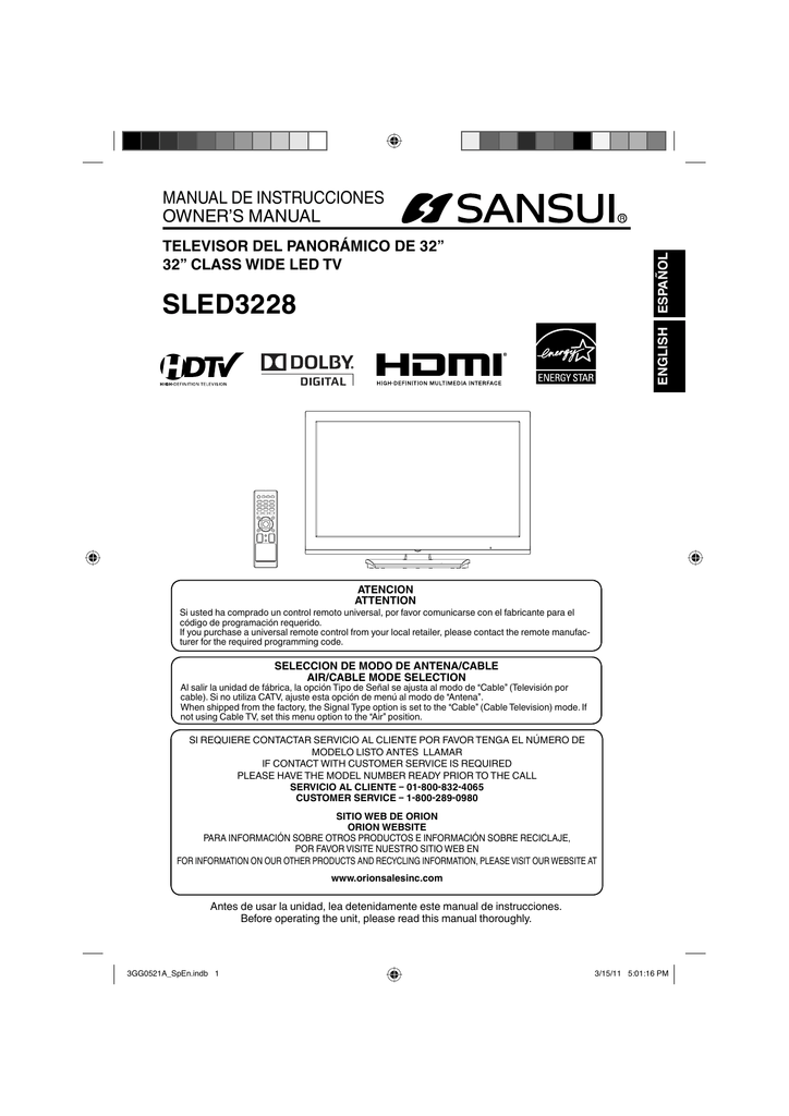 Sansui SLED3228 Flat Panel Television User Manual