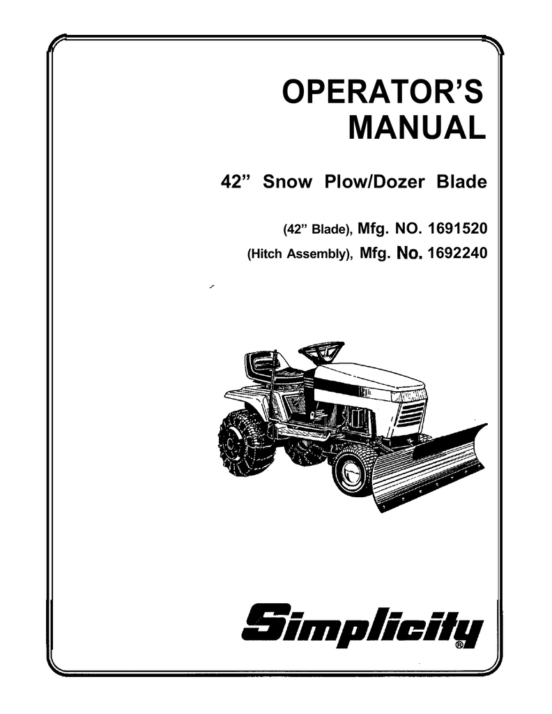 Simplicity Snow Plow/Dozer Blade Lawn Mower User Manual