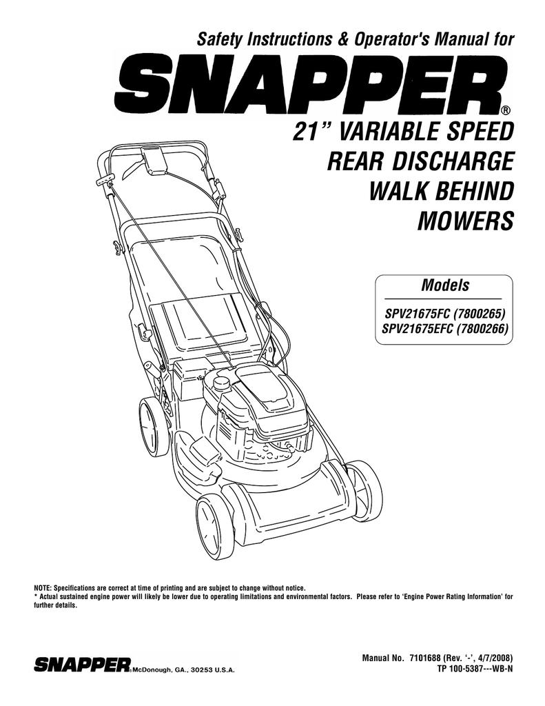 Snapper SPV21675EFC (7800266), SPV21675FC (7800265) Lawn