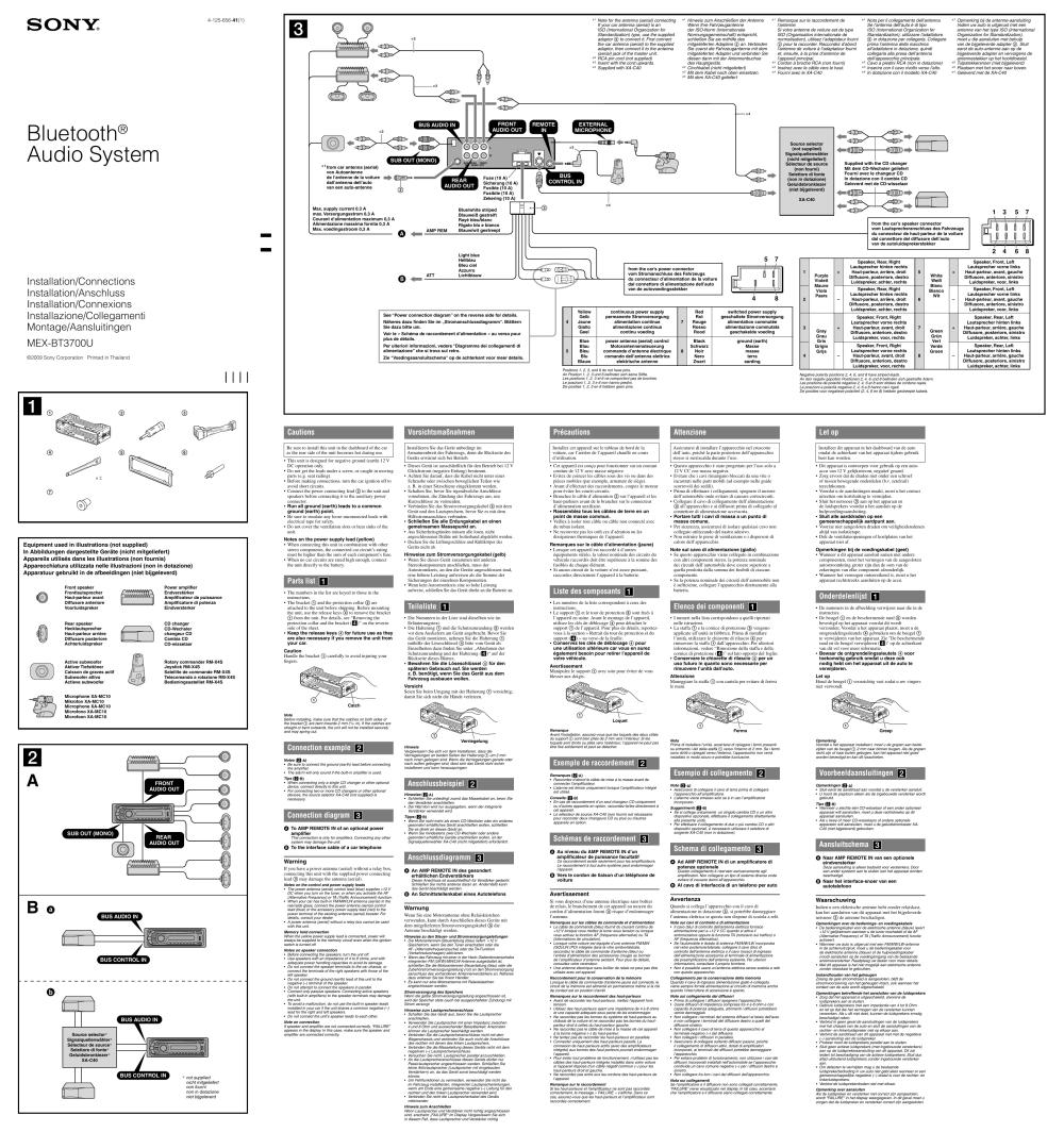medium resolution of car stereo sony mex bt3700u wiring diagram