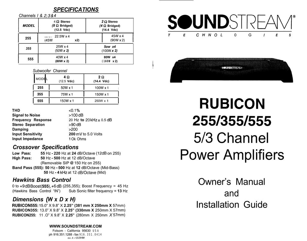 Soundstream Technologies 255 Stereo Amplifier User Manual