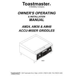 toastmaster am24 am36 am48 griddle user manual [ 791 x 1024 Pixel ]