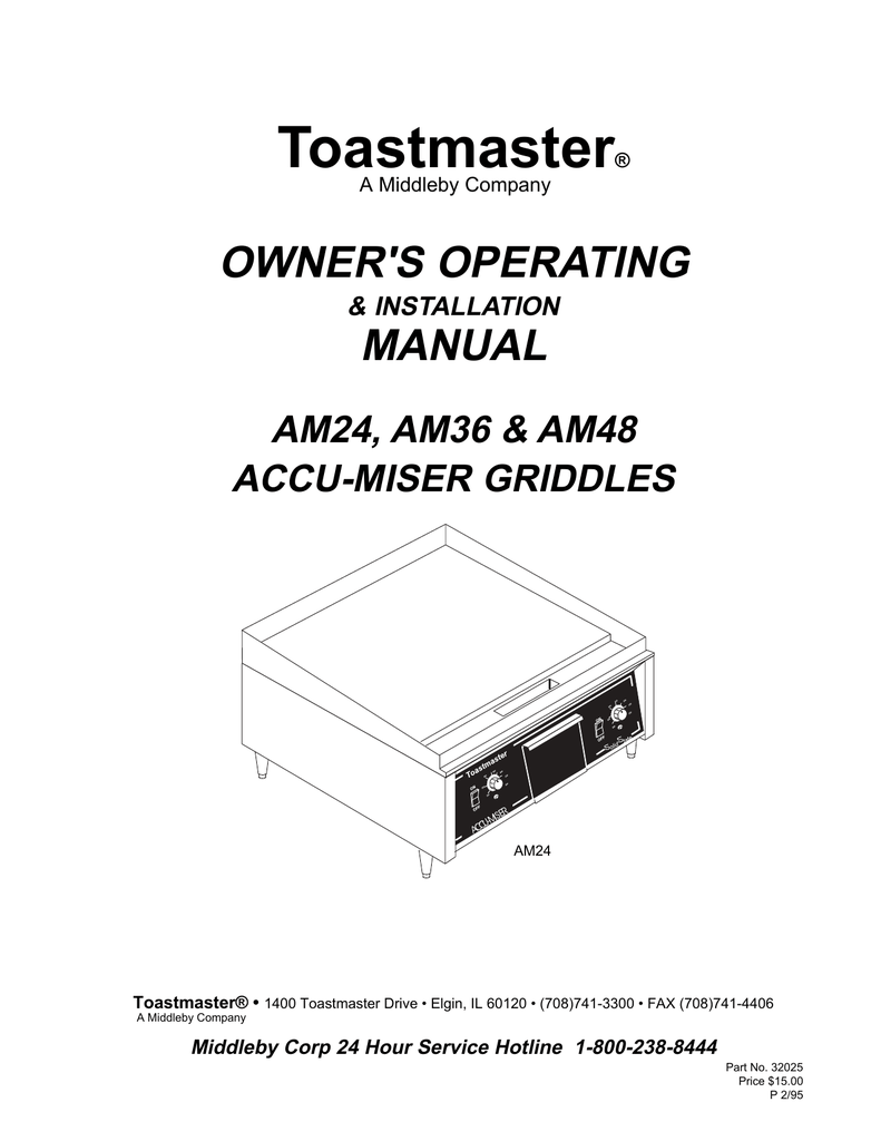 medium resolution of toastmaster am24 am36 am48 griddle user manual