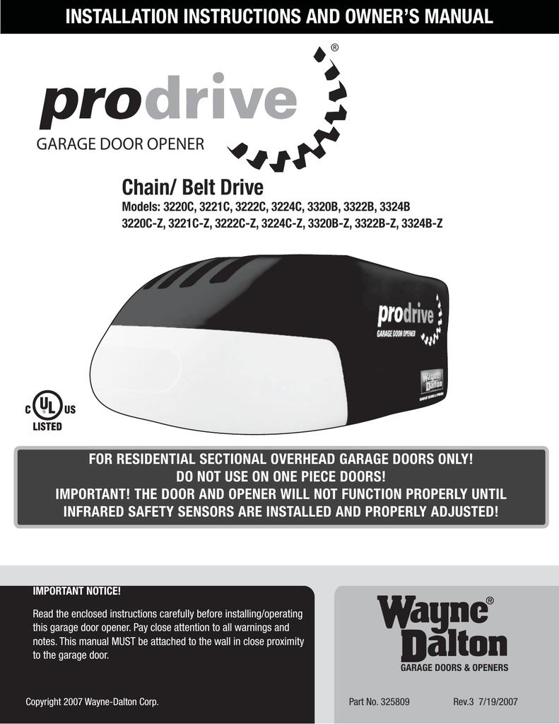 medium resolution of wayne dalton 3220c garage door opener user manual installation instructions