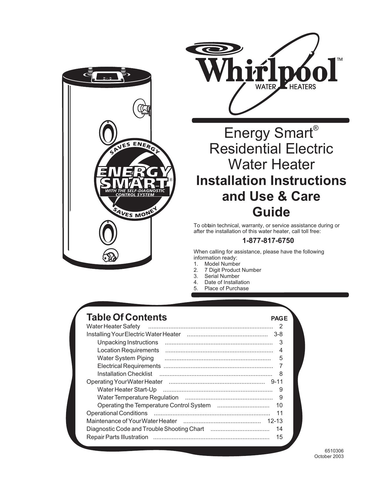 hight resolution of  whirlpool electric whirlpool 188410 water heater user manual manualzz com on whirlpool water heater warranty