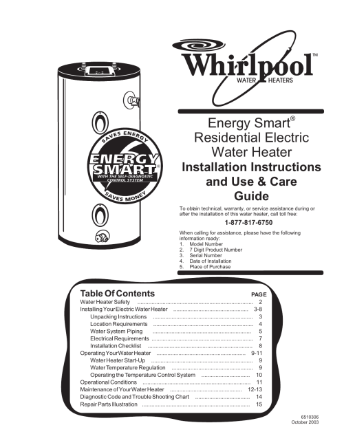 small resolution of  whirlpool electric whirlpool 188410 water heater user manual manualzz com on whirlpool water heater warranty
