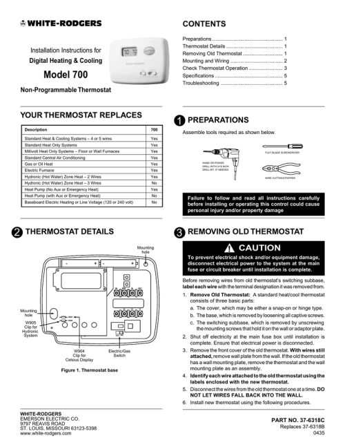 small resolution of specifications white rodgers 700 thermostat user manual