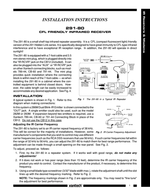 small resolution of owner s manual xantech 291 80 stereo receiver user manual