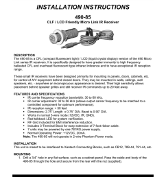 xantech 490 85 radio user manual installation instructions  [ 801 x 1024 Pixel ]