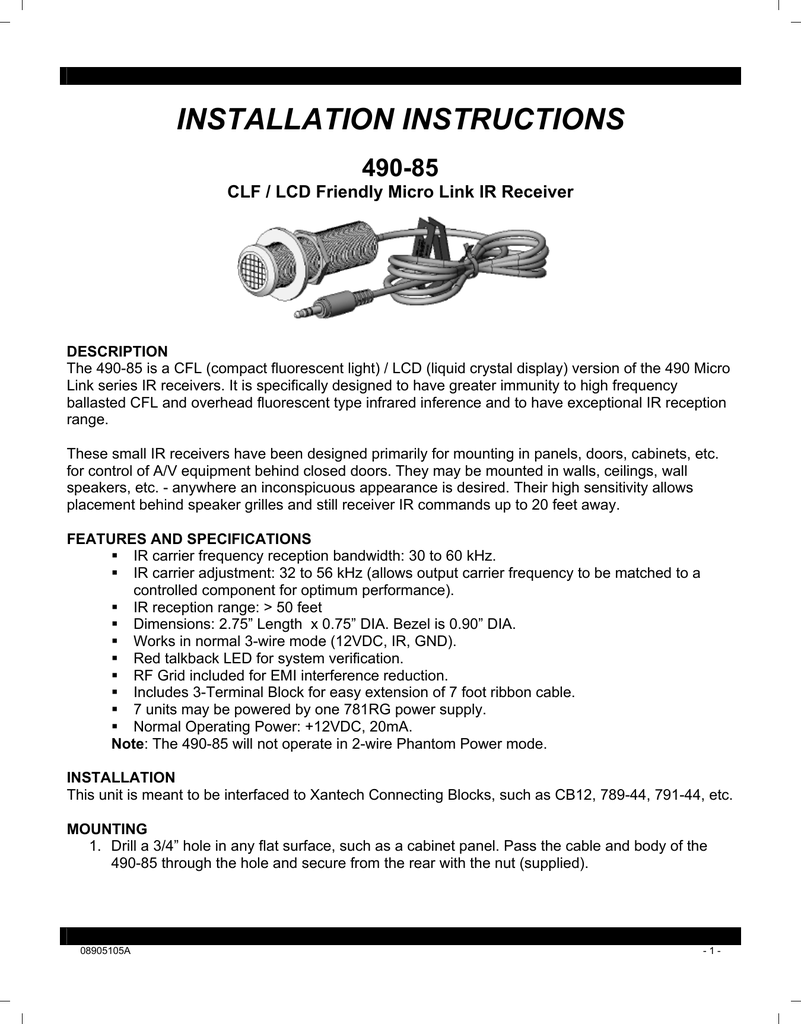 hight resolution of xantech 490 85 radio user manual installation instructions