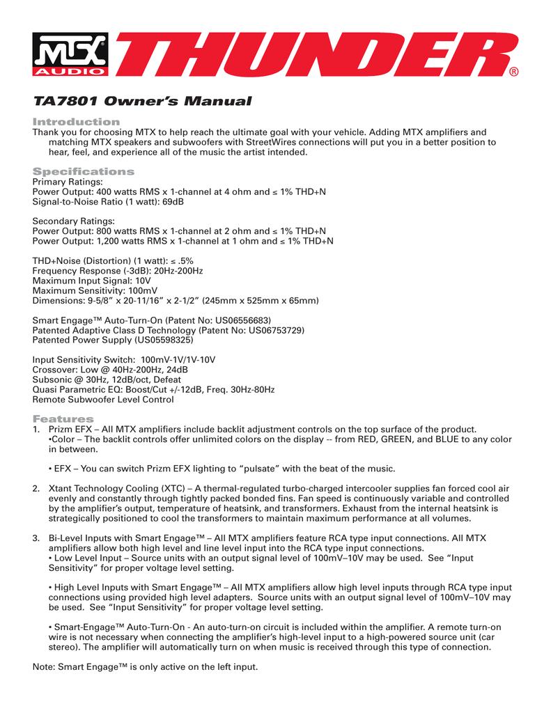 medium resolution of mtx thunder ta7801 subwoofer mono amp car audio amplifier