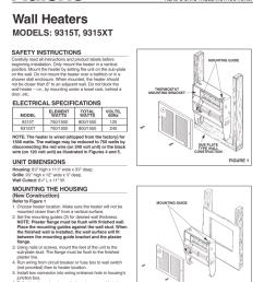 broan nutone n 9315xt wall heater heater installation instructions  [ 791 x 1024 Pixel ]
