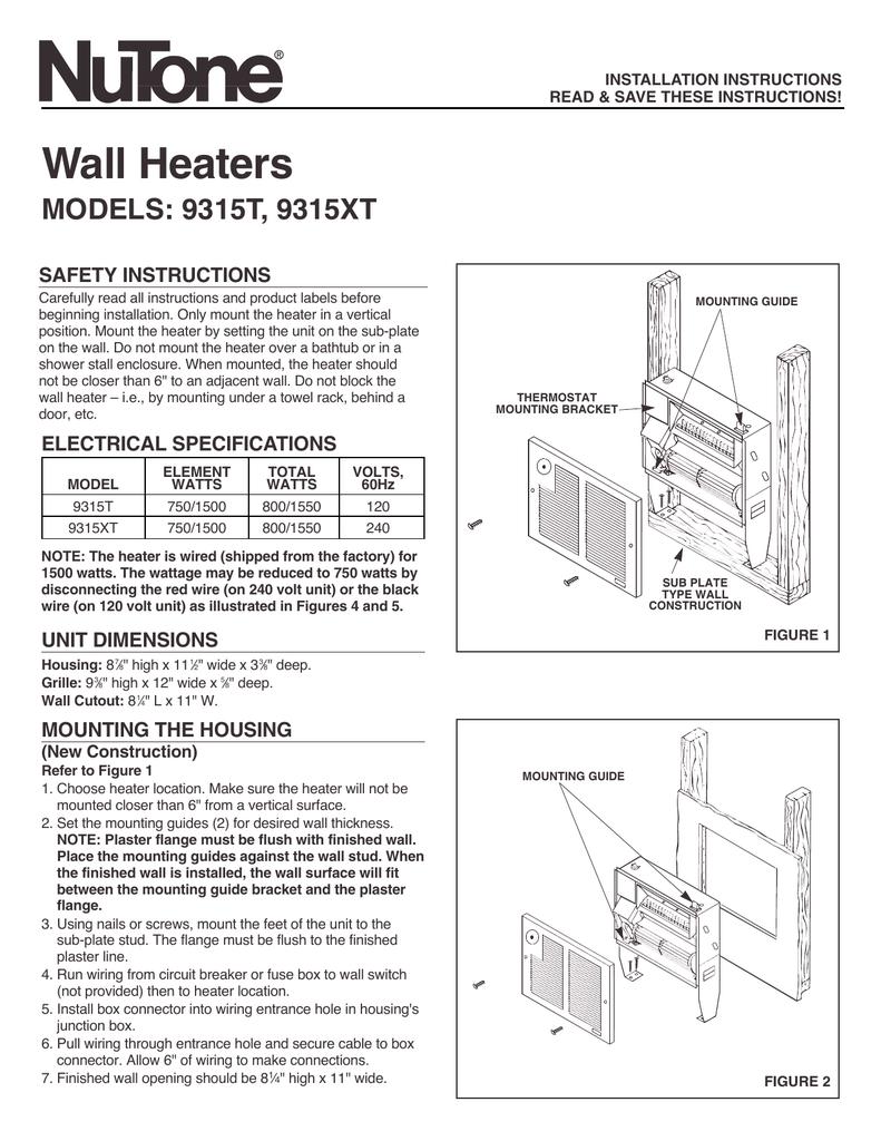 medium resolution of broan nutone n 9315xt wall heater heater installation instructions