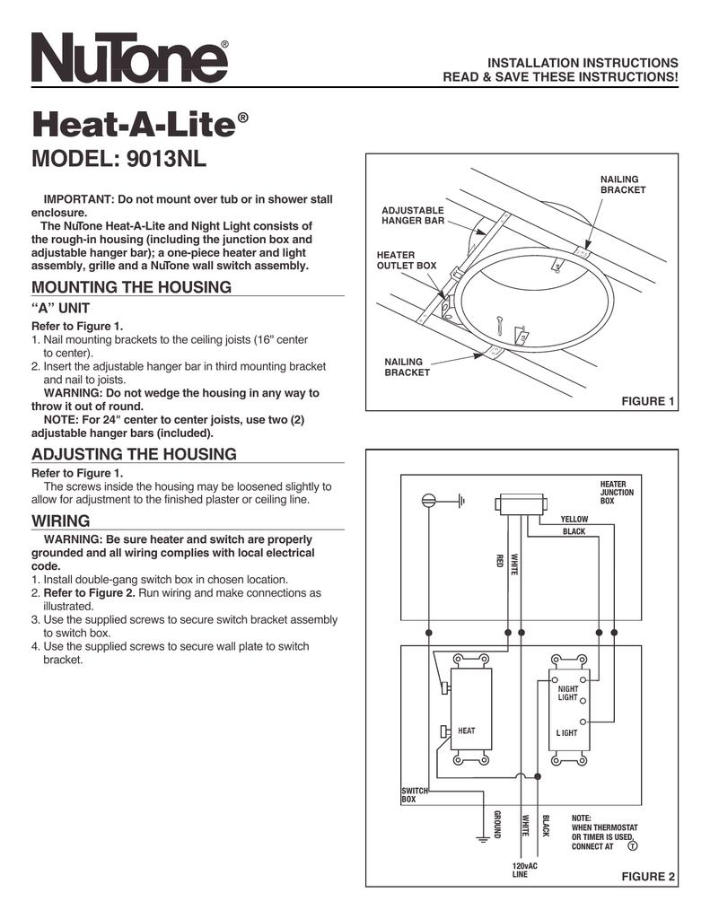 medium resolution of broan nutone n 9013nl combination heater heater installation instructions