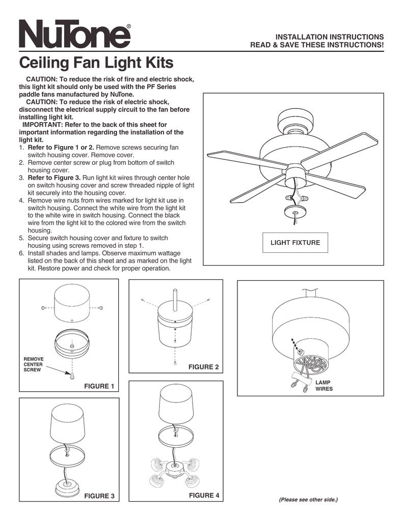 medium resolution of broan nutone n pflk1br light kit ceiling fan installation instructions