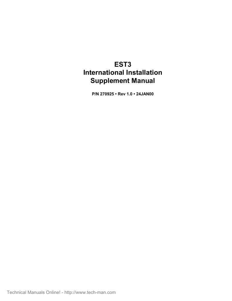 medium resolution of product specifications est3 international installation supplement manual