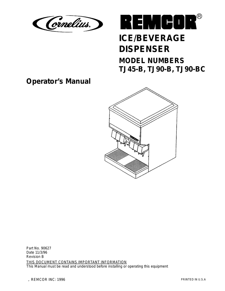hight resolution of remcor ice bev disp operators manual model tj45 b