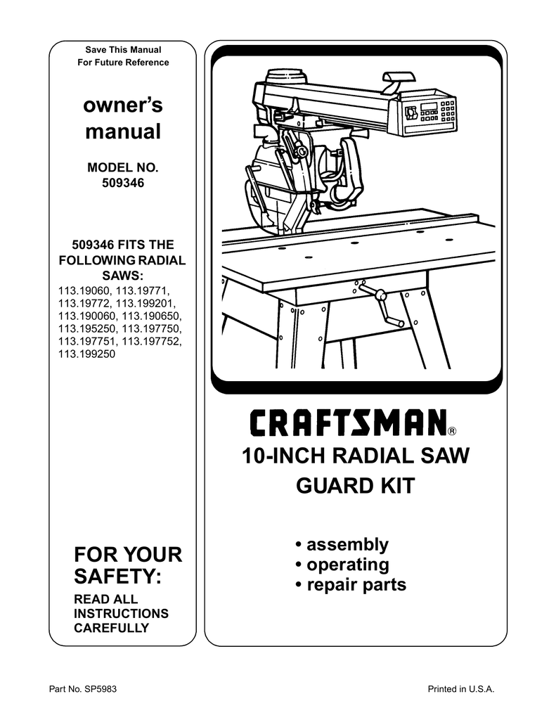 Craftsman Radial Arm Saw Recall Canada