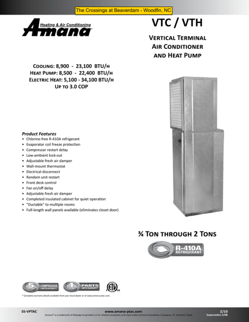 small resolution of product specifications vtc vth medic air systems inc