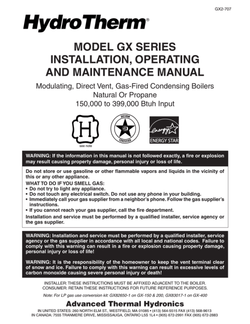 small resolution of model gx series installation operating and maintenance manual
