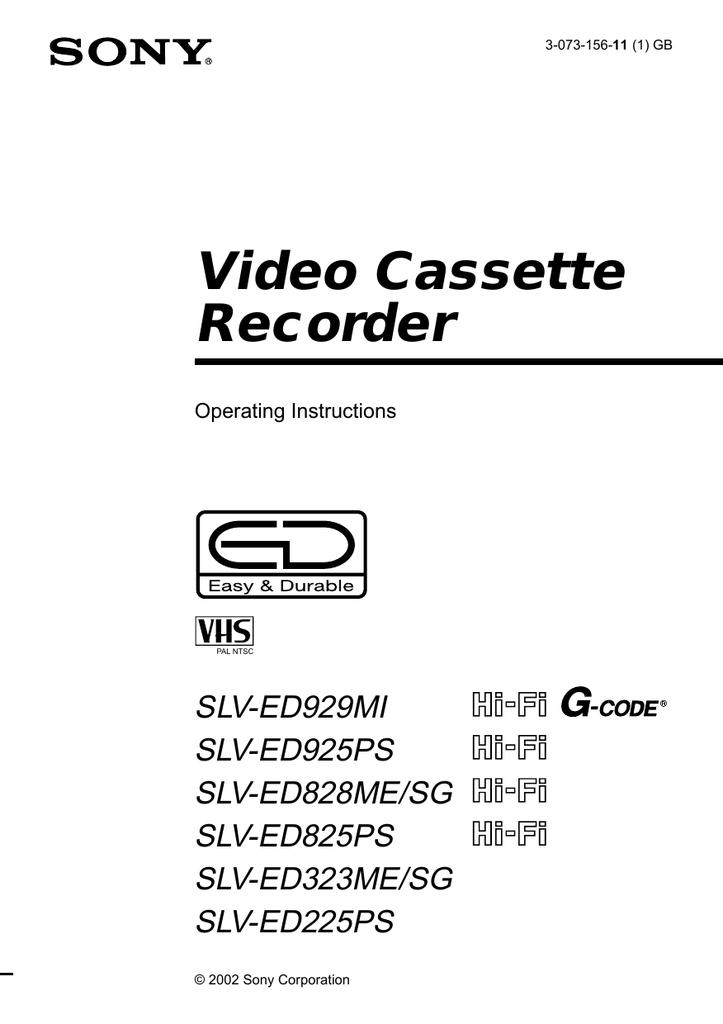 Sony SLV-XA147PS Operating Instructions Manual 28 Pagesl