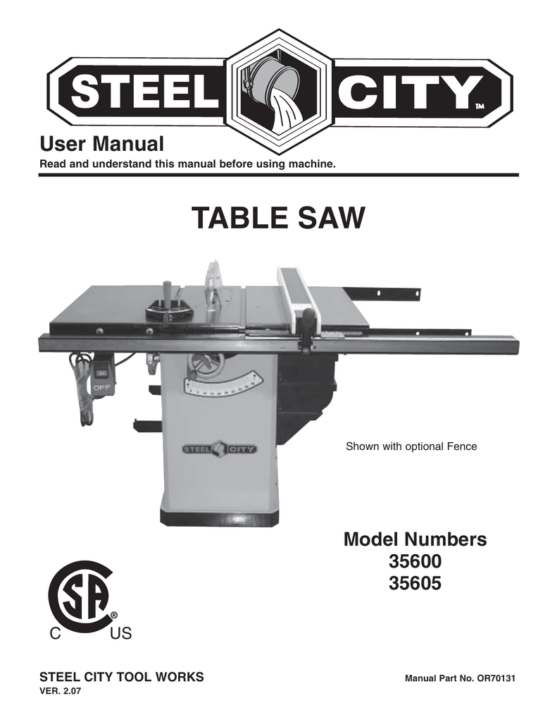 Steel City Tool Works Table Saw