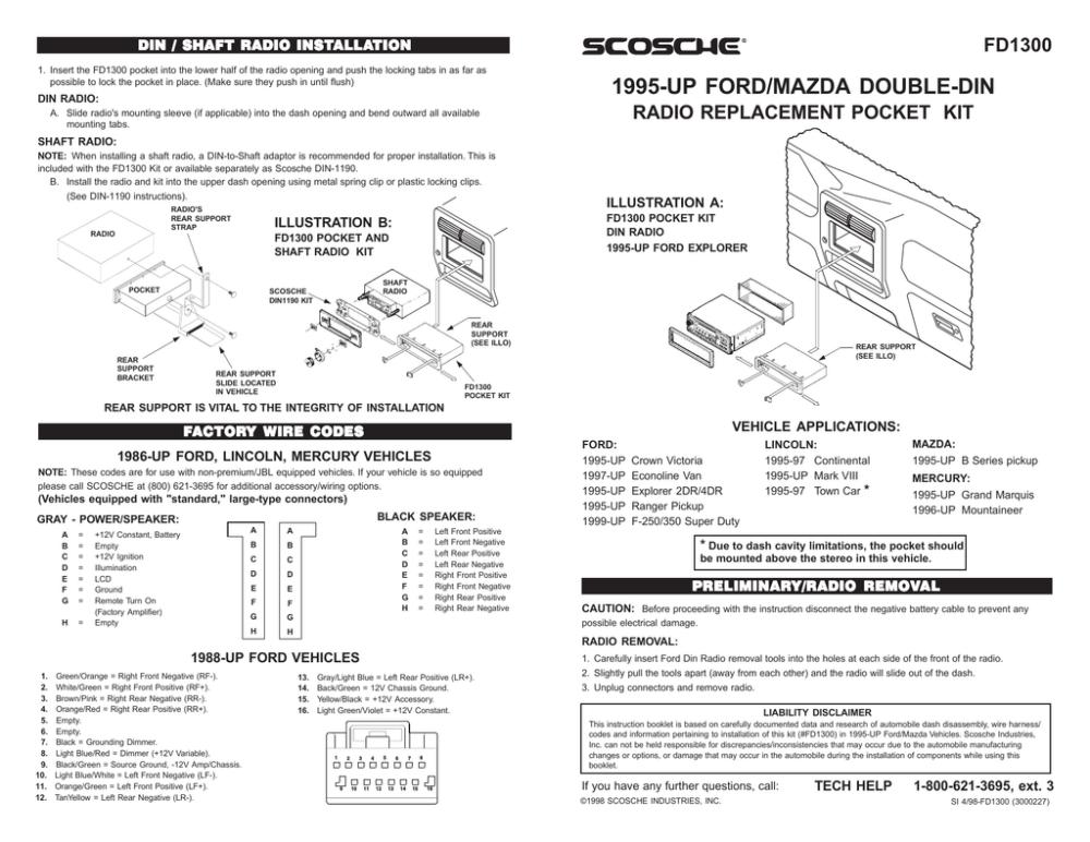medium resolution of scosche fd1300b mounting kit