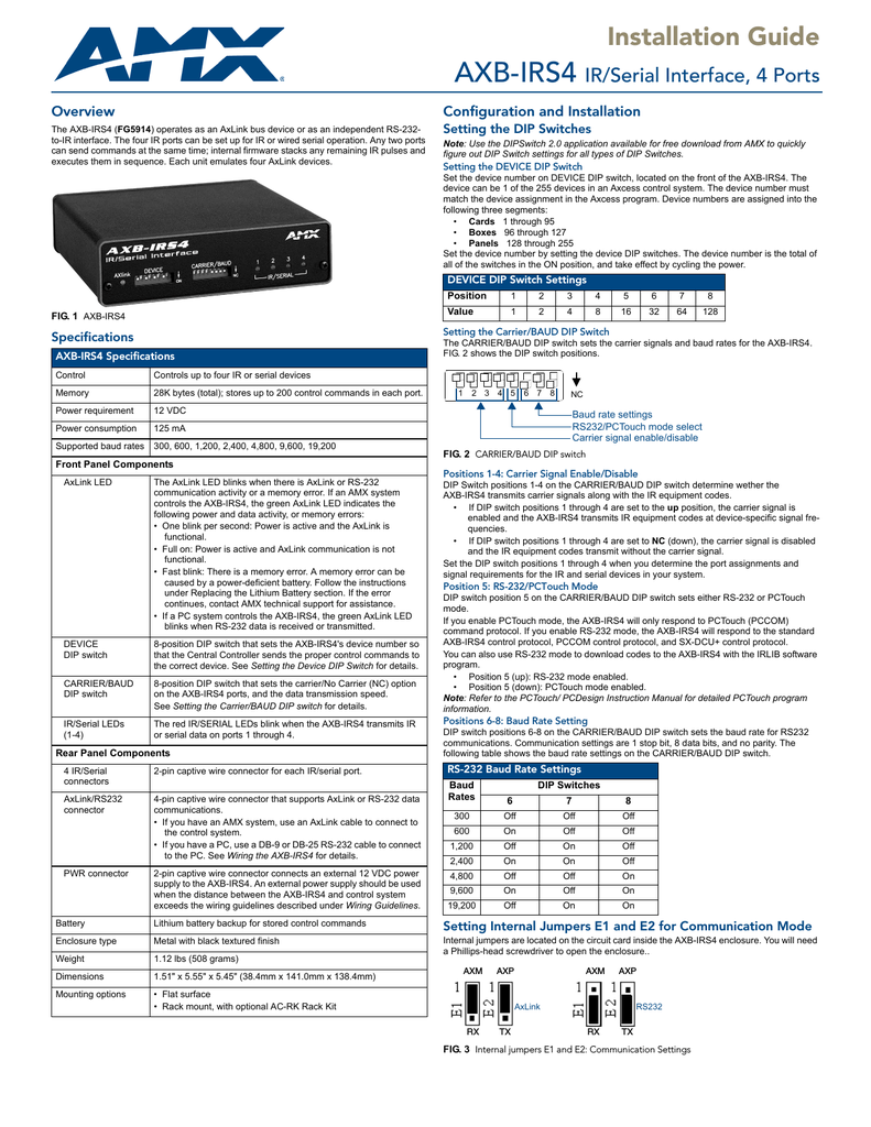 medium resolution of installation guide axb irs4 ir serial interface 4 ports overview configuration and installation the axb irs4 fg5914 operates as an axlink bus device or