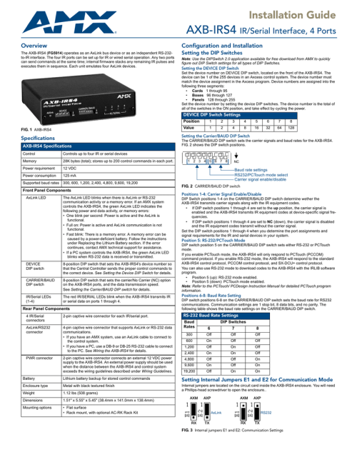 small resolution of installation guide axb irs4 ir serial interface 4 ports overview configuration and installation the axb irs4 fg5914 operates as an axlink bus device or