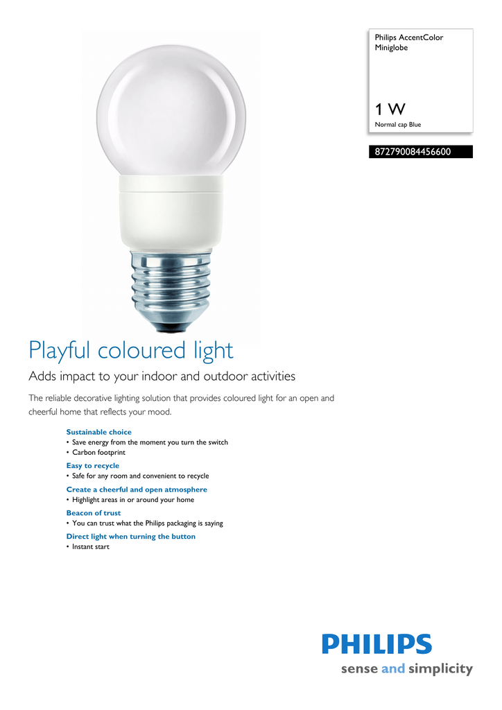 Philips AccentColor 872790084456600 energy-saving lamp