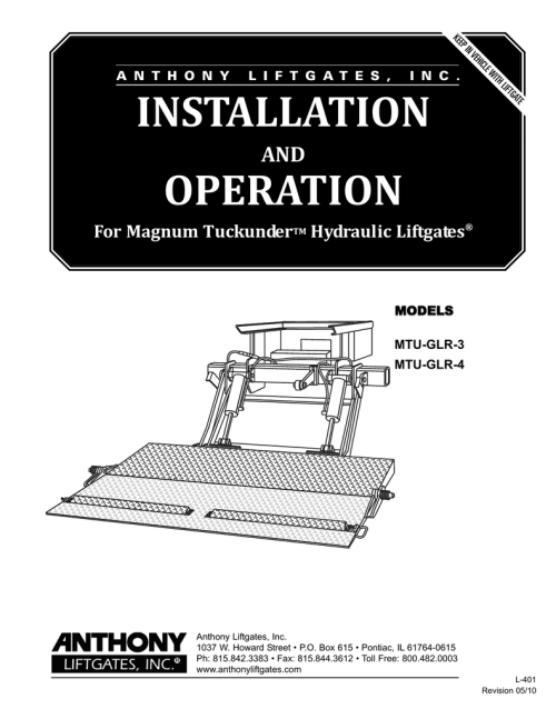 small resolution of installation operation manual ke a n t h o n y l i f t g a t e s