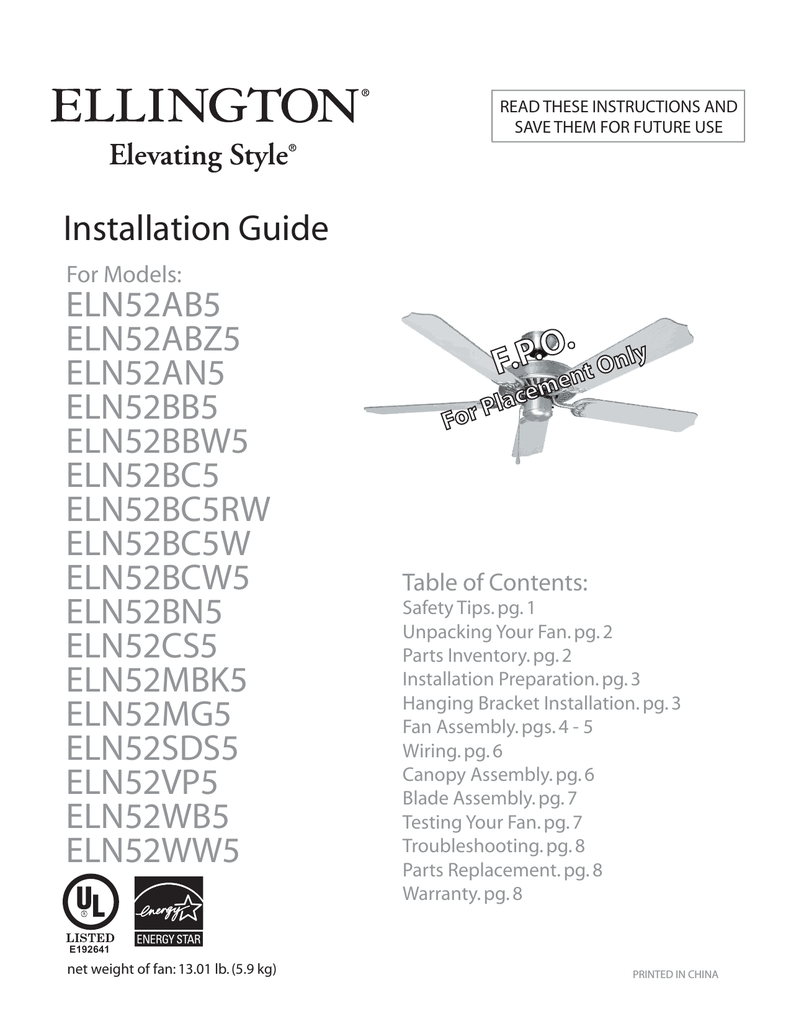 hight resolution of ellington 52 inch ceiling fan installation instructions