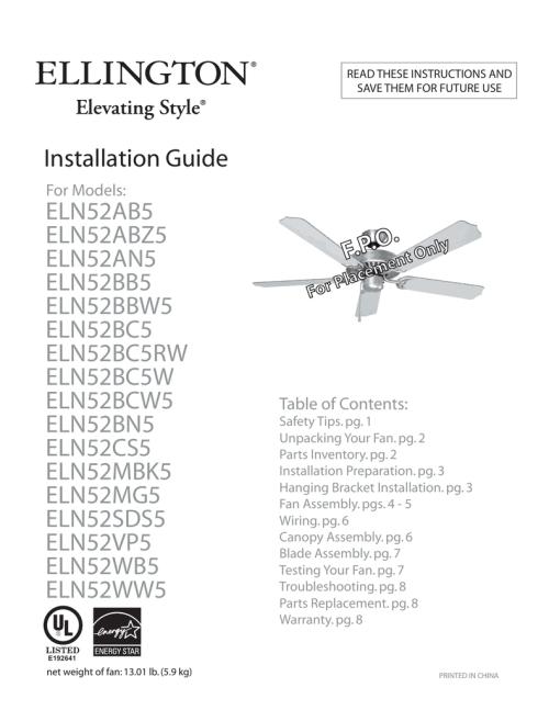 small resolution of ellington 52 inch ceiling fan installation instructions