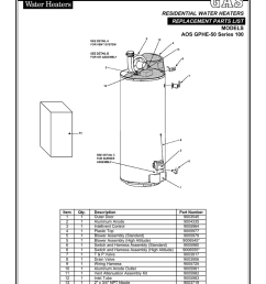 a o smith aos gphe 50 parts list residential water heaters  [ 791 x 1024 Pixel ]