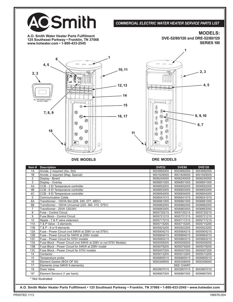 medium resolution of a o smith gold series dre dve 52 80 120 series 920 technical rh manualzz com single