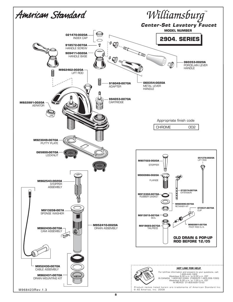 American Standard Williamsburg 2904. SERIES User's Manual