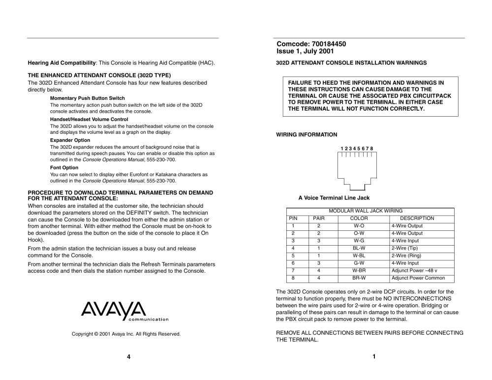 medium resolution of avaya 302d user s manual