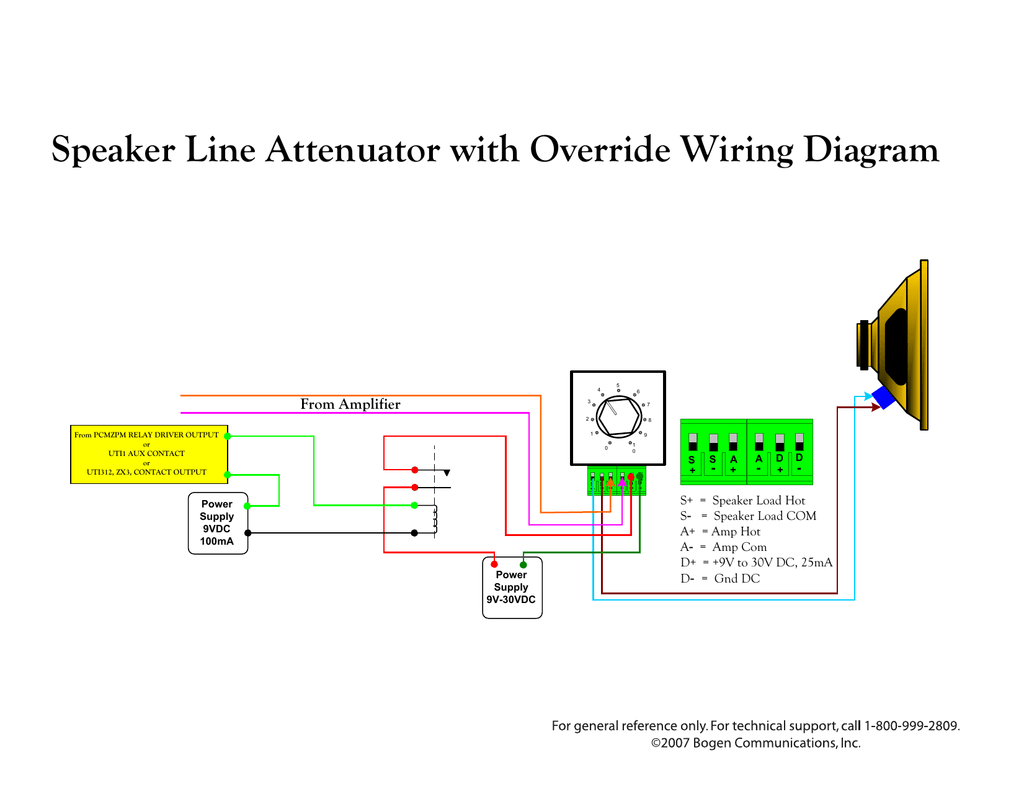 hight resolution of bogen uti1 user s manual speaker line attenuator with override wiring diagram