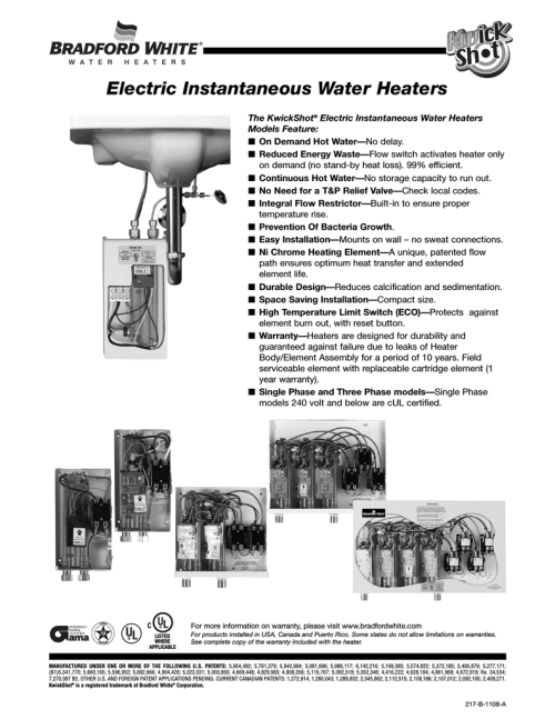 small resolution of bradford white corp electric instantaneous water heaters user s manual