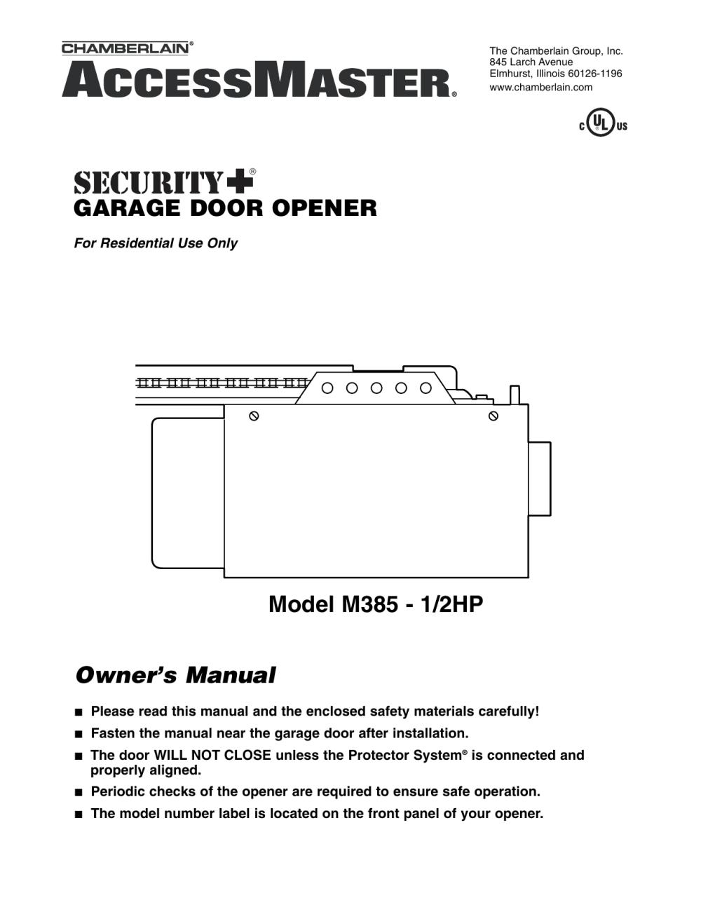 medium resolution of chamberlain m385 user s manual