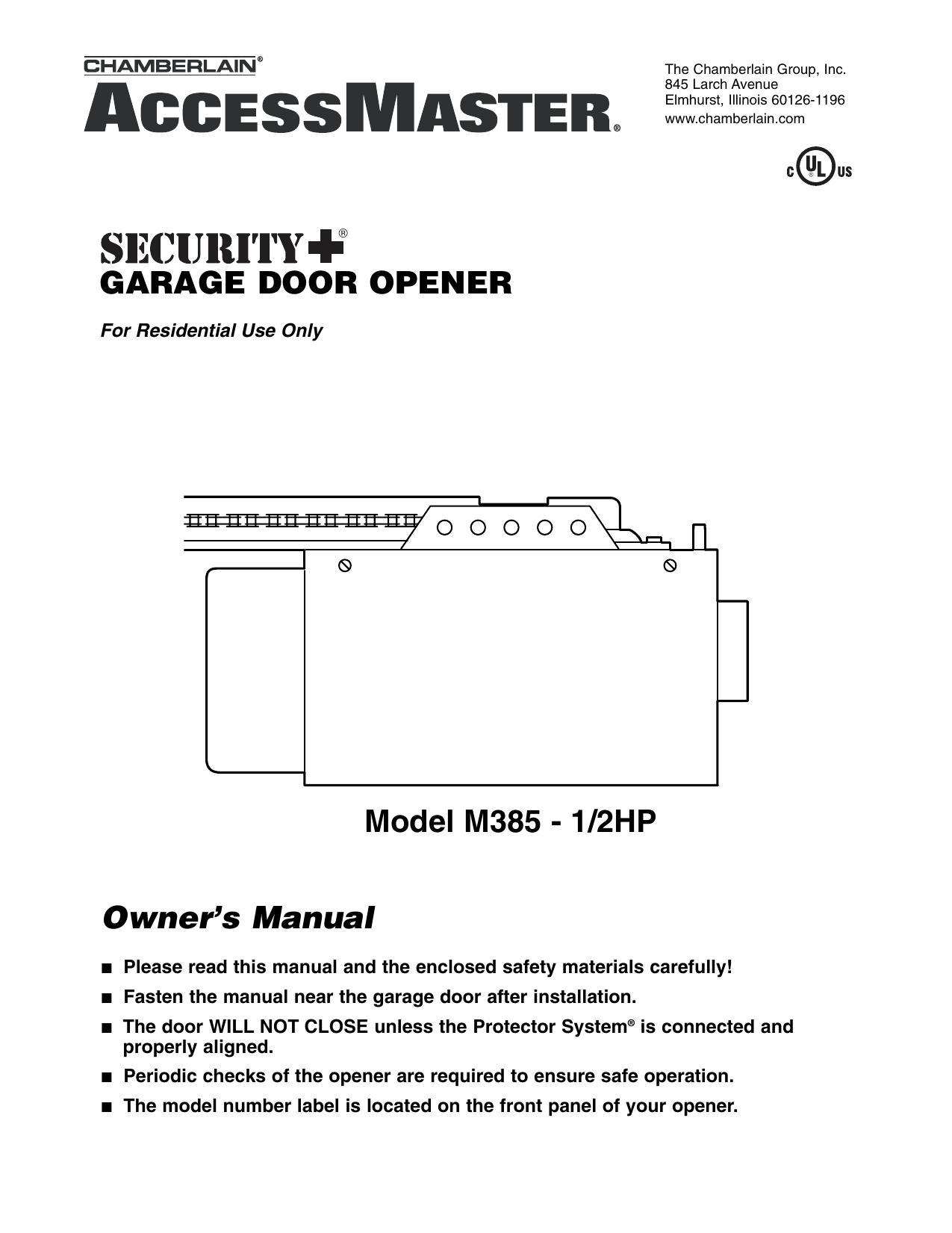 hight resolution of chamberlain m385 user s manual