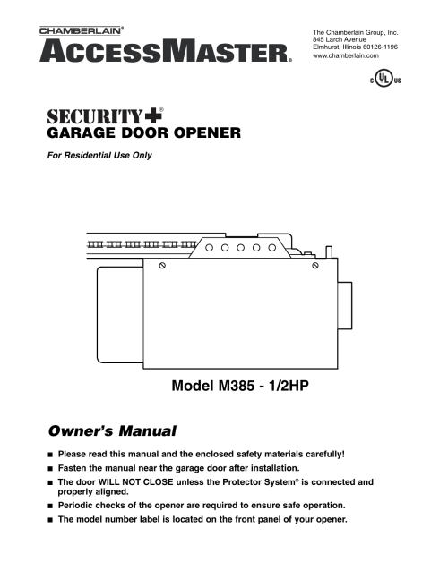 small resolution of chamberlain m385 user s manual
