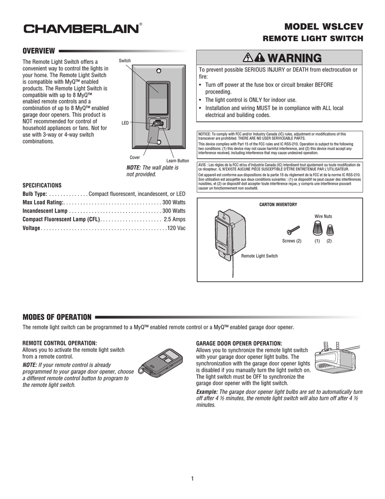 hight resolution of chamberlain wslcev remote light switch user s manual