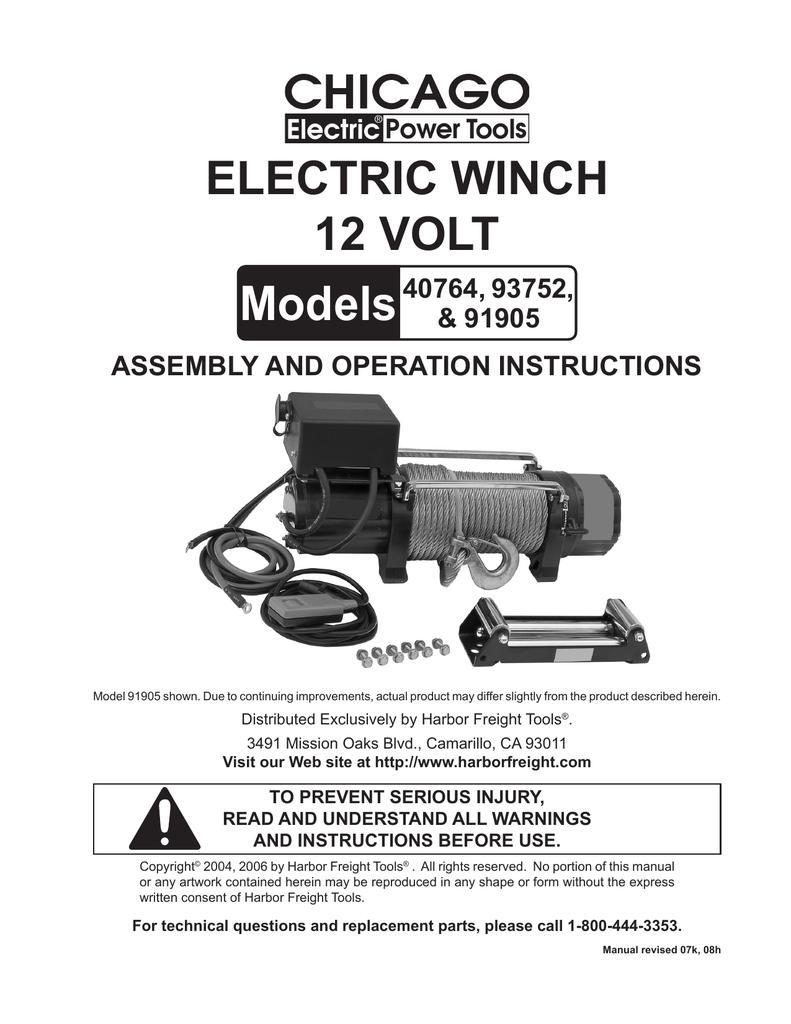 medium resolution of chicago electric 40764 user s manual manualzz com chicago electric 10000 lb winch wiring diagram