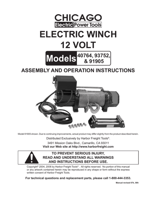 small resolution of chicago electric 40764 user s manual manualzz com chicago electric 10000 lb winch wiring diagram